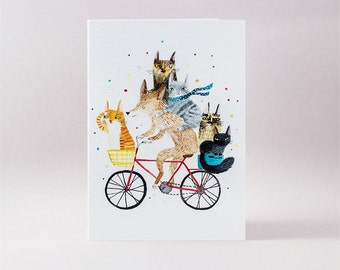 Dog and 5 cats on bike card, cycling animals, blank card