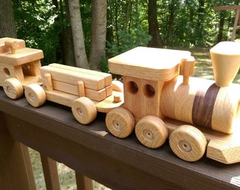Train Set 3 car wooden Handmade toy Red Oak and  Walnut   Heirloom Quality Beautifully hand finished. Will personalize.