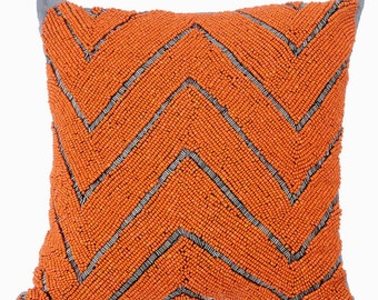Decorative Throw Pillow Covers Accent Pillow Couch Sofa Pillow Case 16x16 Grey Pillow Cover Orange & Grey Bead Embroidered Orange Marshaland