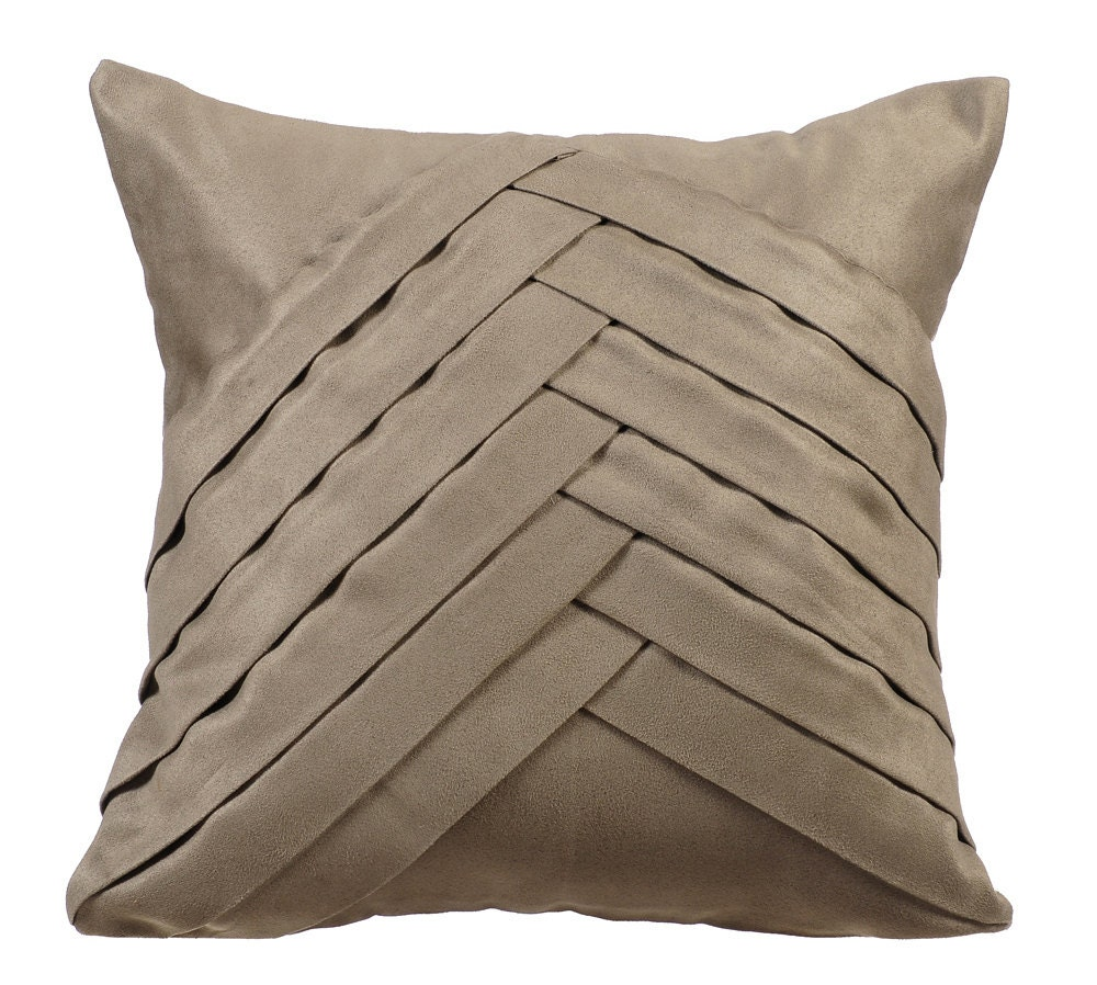 Gray Throw Pillows For Bed : Stone Grey Throw Pillows for Bed 16x16 Pillow Covers Suede