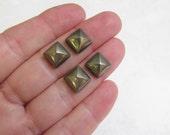 Pyrite Gold Square Cushion Cabochon Rare Natural Spanish Gemstone QTY4 10mm