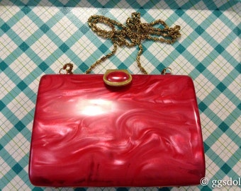 Vintage Japan Lucite Ruby Red Clutch Purse with Chain Strap