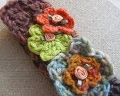 Children's Headband, Adjustable Headband, Children's Accessories, Hats, Warm Headband, Handmade Headband, Crocheted Flowers, A gift for Her