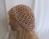 SALE - Tan and White Lacey Slouchy Beret/Tam/Dreadlock Hat (5269)