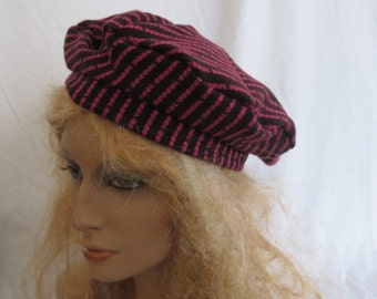 SALE - Brown and Pink Stripe Beret (4737)