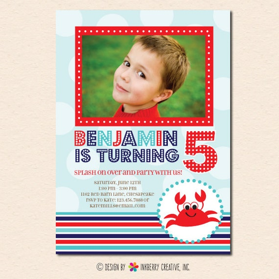 Splashing Crab - Pool, Beach or Summer Theme - Birthday Party Invitation (Digital File OR Cardstock Printed Cards Also Available)