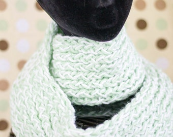 CLEARANCE!!!! Soft Green and White Infinity Scarf
