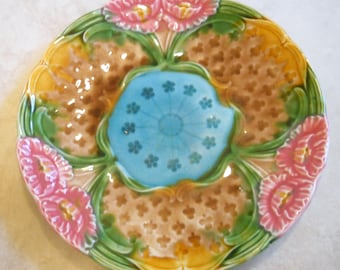 Antique Majolica Plate, Collectible French Kitchen Decor, Moulin des Loups, Hamage -  Display Plate - Pink, Beige Turquoise, Sage, Marigold,