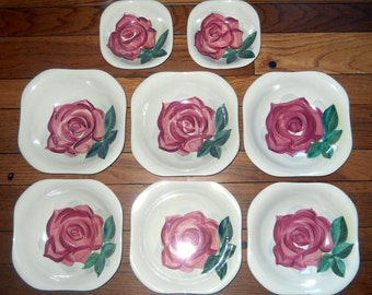 Red Wing Lexington Bowls - 1942-1955 Concord, Red Rose, Green Leaf- Farmhouse Cabin Decor - Shabby Chic Salad, Soup or Fruit Bowls