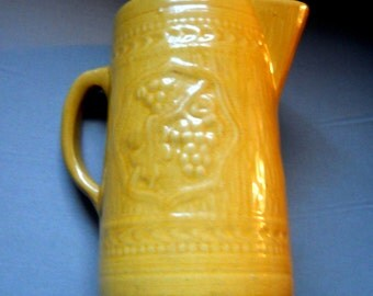 Early American 1900s Primitive Antique Marigold Yellow Ware Stoneware Milk Pitcher - Farmhouse Kitchen Pottery - French Country Dining Decor