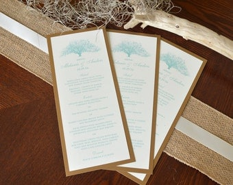Rustic Oak Tree Wedding Menu