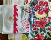 Vintage Print Tablecloth Cutter Lot 3 pcs 1940s 50s, flower borders, FL state