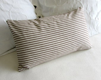 french ticking decorative Pillow 12x20 includes insert brown stripes