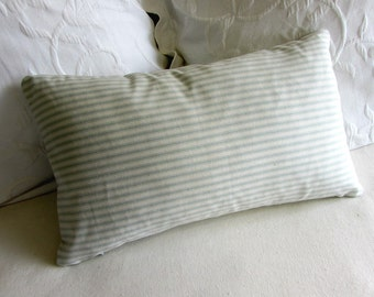 french ticking decorative Pillow 12x20 includes insert spa stripes