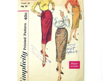1950s Rockabilly Pencil Slim Wiggle Skirt Vintage Sewing Pattern Simplicity 2655  / Waist 26