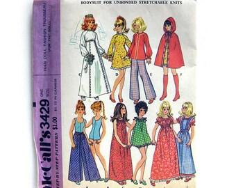 Vintage Sewing Pattern - Teen DOLL - McCalls 3429 - 11.5 inch doll - Barbie / UNCUT FF