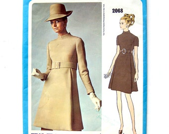 1960s Vintage Vogue Americana 2055 - Teal Traina - High Waisted Mod DRESS - Designer Fashion Dress / UNCUT FF / Size 12