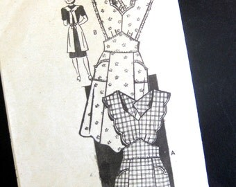 1940s Vintage Sewing Pattern - Anne Adams Instructor 4564 - Wrap Pinafore Apron with Scallops / Small 32-24 Bust