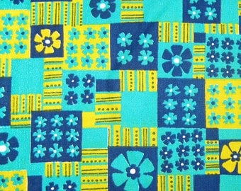Mod 1960s Vintage Floral Patchwork Print / Cotton Fabric in Navy, Aqua and Bright Yellow or Chartreuse / 1.25 yards