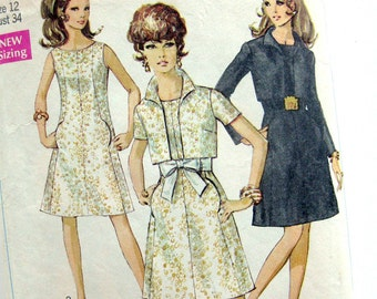 Vintage 1960s Sewing Pattern Simplicity 7952 Misses' A-Line Dress and Cropped Jacket / Size 12 Bust 34