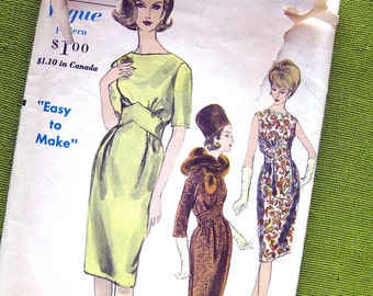 1960s STUNNING Mad Men Era Dress Pattern Easy To Make Vogue 5753 Vintage Sewing Pattern / Size 12 Bust 32