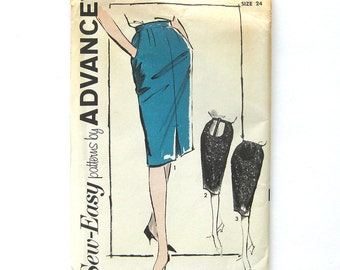 1960s Maternity Clothes Sewing Pattern Slim Skirt with Stretch Panel / Advance 2779 / Uncut FF / Size 24