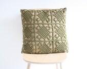 Big olive green crochet pillowcase