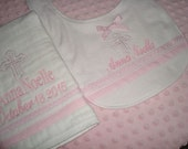 Anna Personalized Baptism Christening Bib and Burp Cloth  - Choice of Name or upto 3 Initials