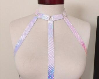 Iridescent white Mermaid body harness top rainbow pearl