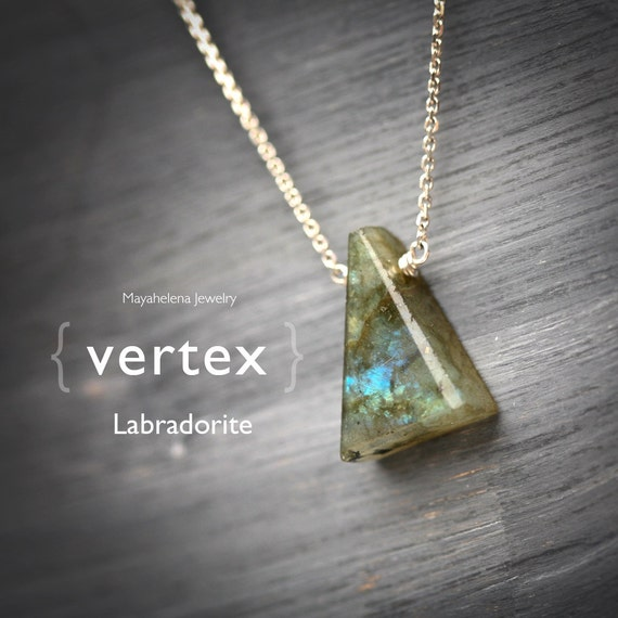 Vertex - Triangle Shape Labradorite Sterling Silver Necklace