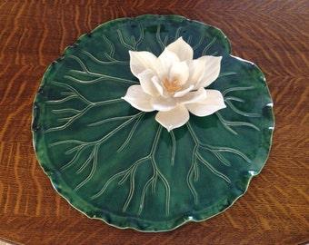 Handmade Pottery Dish, Lily Pad and Lotus Blossom Dish