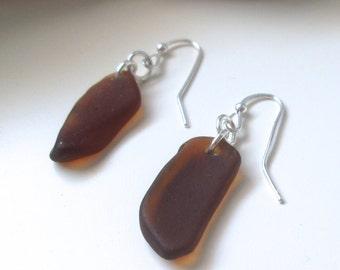 Brown Sea Glass Single Drop Earrings on Sterling Silver