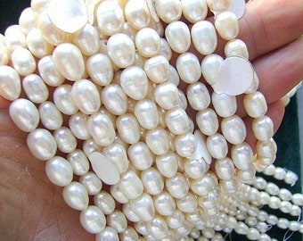 PEARLS, NATURAL, Large,  Rice, CREAMY,White, 10 X 8mm, Oval, Teardrop, Long Drill, 16 Inch,Sale, Not Dyed, High Quality, I