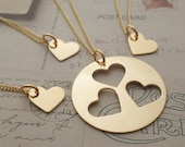 Gold Filled Mother Daughter Jewelry - Family Heart Necklace Set for Three (3) Daughters - Mother's Jewelry in 14K GF