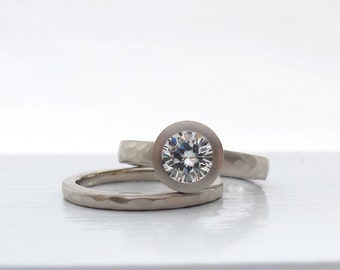 Pebble Ring Squared bezel set engagement ring solitaire and matching wedding hammered band  Forever One Moissanite and recycled white gold