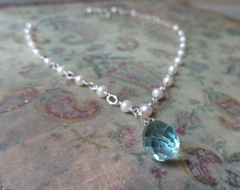 Gemstone Briolette Necklace, Blue Topaz and Pearl Necklace
