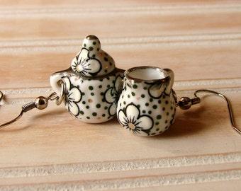 Miniature Tea Set Earrings - Cream and Sugar Earrings - Black and White Earrings - Daisy Earrings - Afternoon Tea Time Jewelry Earrings