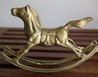 PAINTED PONY: Vintage Rocking Horse Statuette Figurine, Iron Metal, Mixed Metals Patina of Matte Brass - Shiny Gold, Midcentury Modern Style