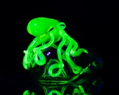 Octopus Glass Spoon Pipe Hand Blown Thick Wall in Clear & Illuminati, Ready to Ship #246