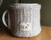 Knitted tea mug cozy tea cup cozy in linen