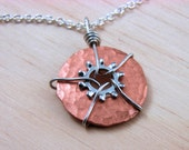 Statement Necklace Pendant  Steampunk Wire Wrapped Copper Hardware Jewelry, Industrial, eco friendly, gift under 25