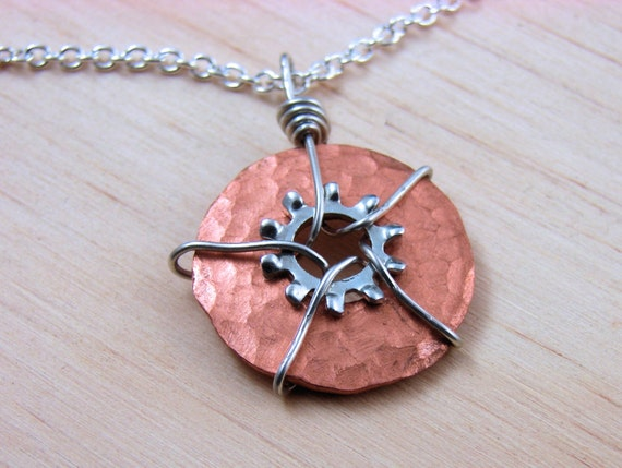 Statement Necklace Pendant  Steampunk Wire Wrapped Copper Hardware Jewelry
