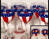 Painted wine glass, Stars and Stripes wine glass, flag wine glass, patriotic wine glass