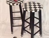 Painted bar Stool//Whimsical painted stool//Whimsical painted furniture//Checkered Stool Black White