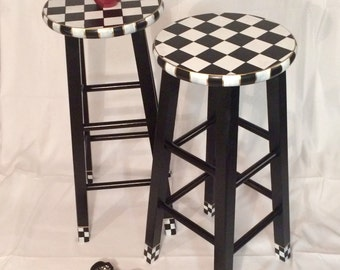 "Whimsical Painted Furniture, 29"" Painted round top bar Stool//Whimsical painted stool//Checkered Stool Black White"