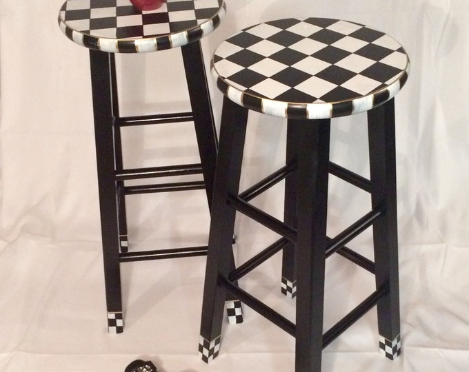 """Whimsical Painted Furniture, 29"""" Painted round top bar Stool//Whimsical painted stool//Checkered Stool Black White"""