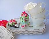 Vintage Anchor Hocking Golden Shell Milk White Snack Set Three - Tea Garden Parties