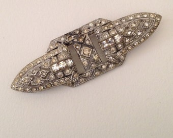 Very Interesting Art Deco Pin and Dress Clip Set, Silver Color with Rhinestones