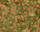 Green And Orange Stars Batik 100% Cotton Quilting Fabric