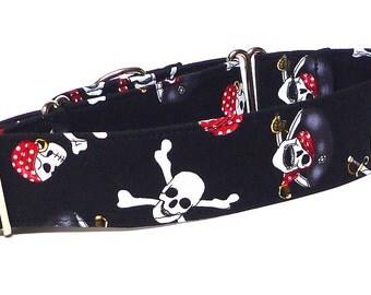 Halloween Collar, Martingale Collar, Dog Collar, Pirates Dog Collar, Skeleton Dog Collar, Swashbuckler, All Hallows Eve Collar, holiday